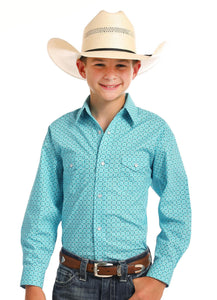 PANHANDLE SLIM BOYS TURQUOISE & BROWN PRINTED SNAP UP WESTERN SHIRT R2S6447