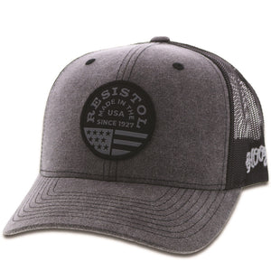 1928T-GYBK Resistol Grey / black mesh 6-panel trucker with patch - OSFA