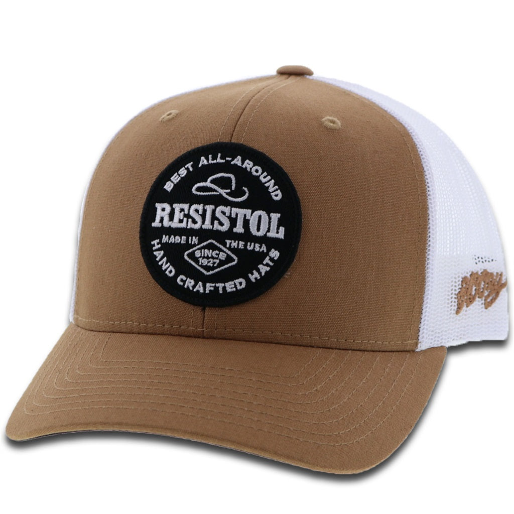 1928T-TNWH Desc: Resistol tan / white mesh 6-panel trucker with patch - OSFA