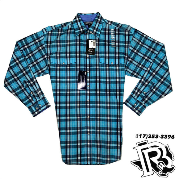 Panhandle shirt | Blue pattern with snap buttons 36s1092