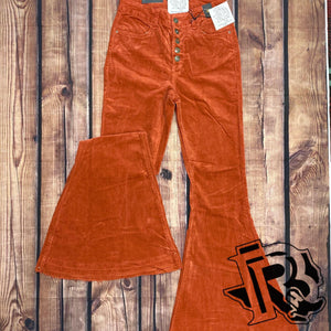 RUSTY BUTTON UP SUEDE BELL BOTTOMS