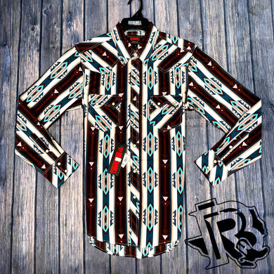 ROCK AND ROLL VINTAGE SHIRT BROWN JADE LONG SLEEVE B2S6592
