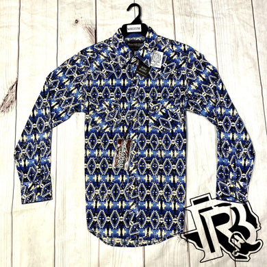 Crinkle Washed Aztec Snap Shirt B2S1131 ROCK & ROLL DENIM