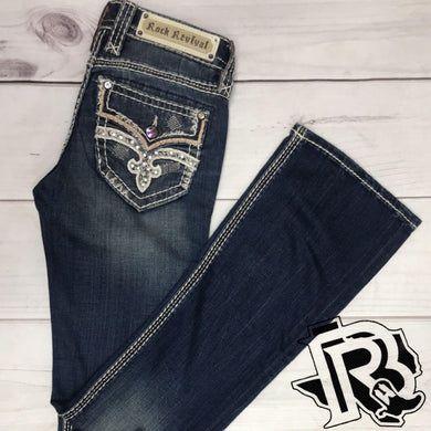 ROCK REVIVAL RAVEN BOOT CUT JEANS