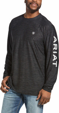 ARIAT MNS CHARGER LOGO LS T-SHRT CHARCOAL HTHR 10032774