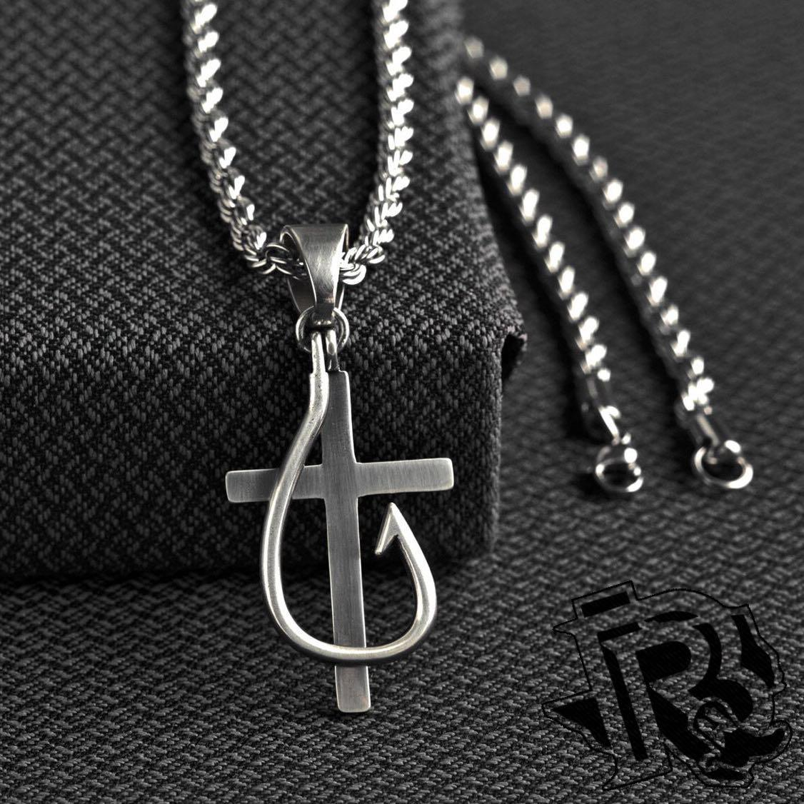 TWISTER CROSS AND FISH HOOK NECKLACE 32134