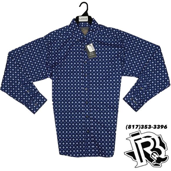 Panhandle Men Shirt | Blue pattern long sleeve button down