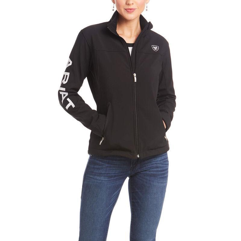 ARIAT | Women BLACK New Team Softshell Jacket white letters