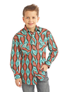 Rock and Roll Cowboy Long Sleeve Aztec Print Shirt B8S2331