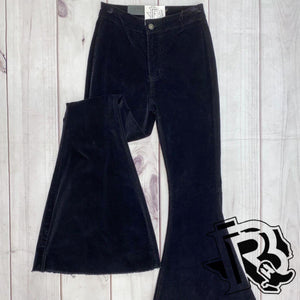 BLACK SUEDE BELL BOTTOMS