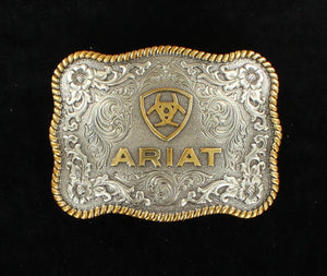 ARIAT ANTIQUE SILVER AND GOLD OVAL BUCKLE  A37007