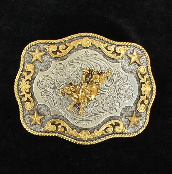 NOCONA MENS ANT SILVER/ANT GOLD BUCKLE