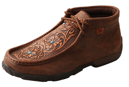 274905854da Twisted X Brown Tooled Flowers Women s Driving Moccasins WDM0081 ...