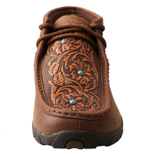 Load image into Gallery viewer, Twisted X Brown/Tooled Flowers Women's Driving Moccasins WDM0081
