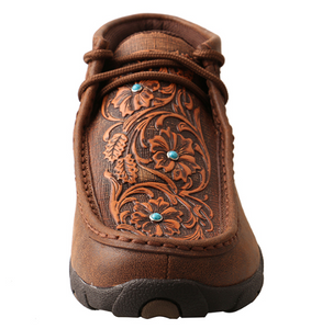 Twisted X Brown/Tooled Flowers Women's Driving Moccasins WDM0081
