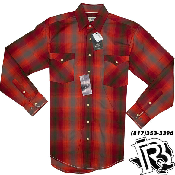 Panhandle Men Shirt | Red pattern with snap buttons