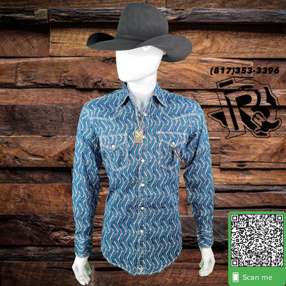 WRANGLER® 20X | LONG SLEEVE WESTERN SNAP PRINT SHIRT DARK BLUE/TURQUOISE