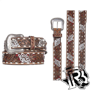 Nocona Men's Brown Genuine Leather Floral with Red Painted Inlay Western Belt N2413004