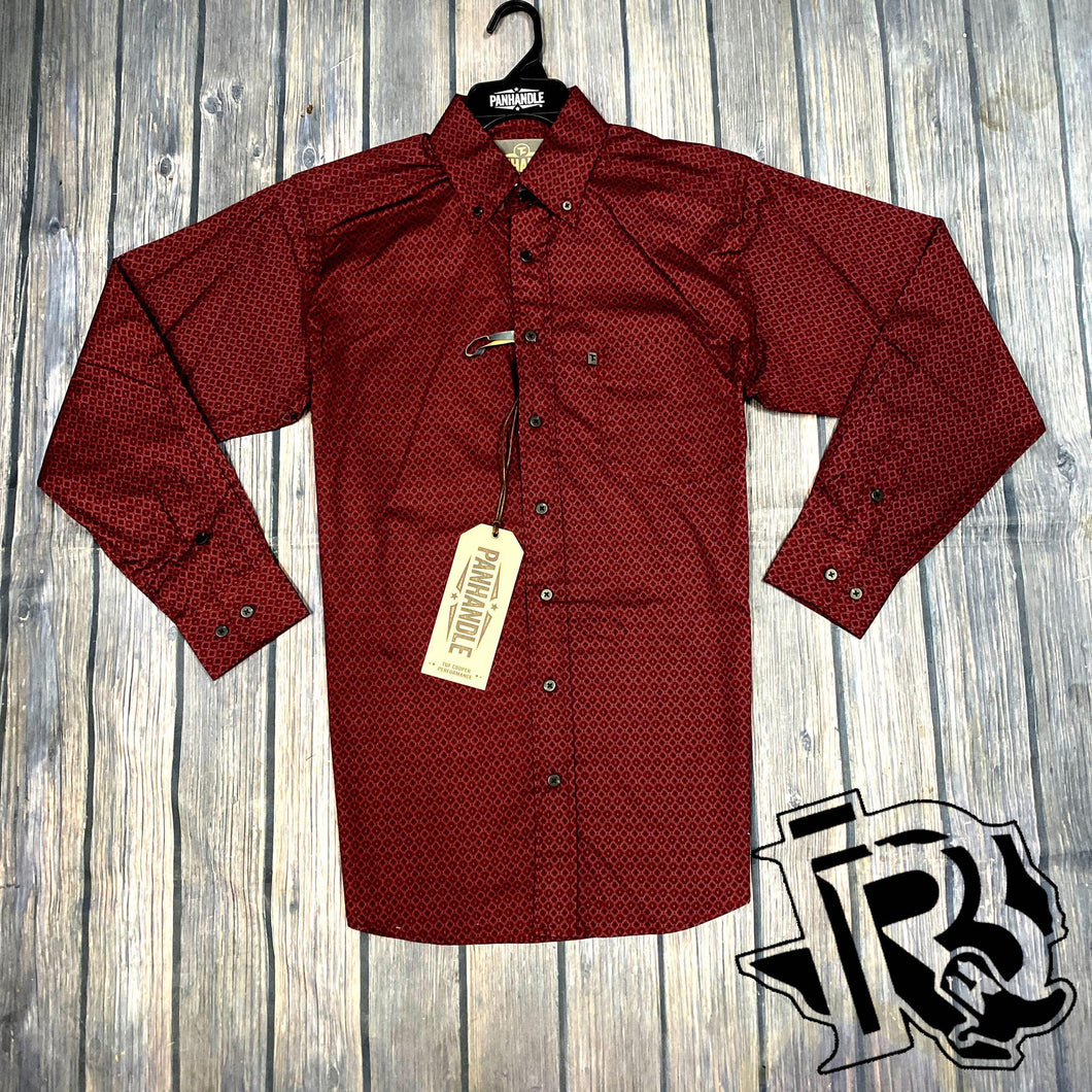 Mens PANHANDLE COMPETITION LONG SLEEVE RED STRETCH SHIRT TCD6534