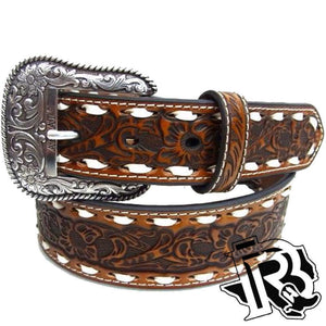 Ariat Western Belt Mens Embossed Floral Whip Stitching Tan A1023008