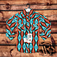 Load image into Gallery viewer, Rock and Roll Cowboy Long Sleeve Aztec Print Shirt B8S2331