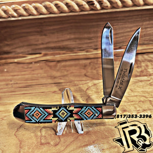 Twisted X KNIFE | 2 blade MULTI COLOR BEADED handle knife