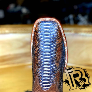 BR : ORIGNAL SNAKE RUSTIC NATURAL PYTHON SQUARE TOE BOOT