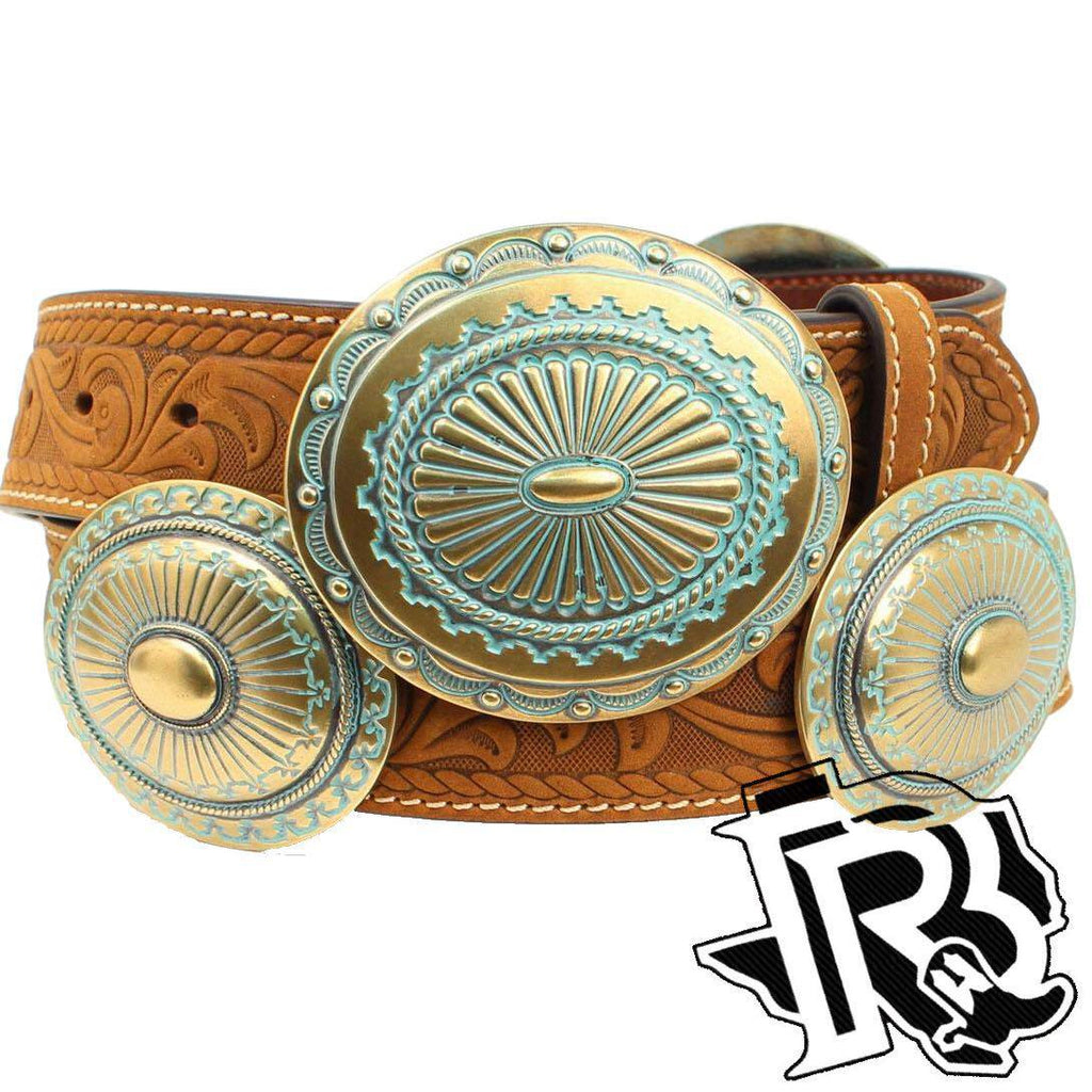 Ariat Ladies Belt Patina/Gold Concho Buckle A1528244