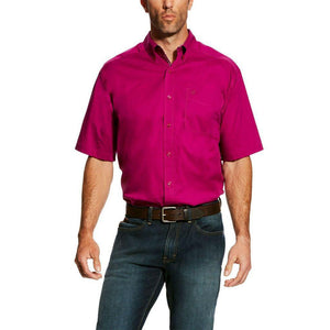ARIAT MEN'S BERRY JUICE SOLID STRETCH POPLIN SHIRT