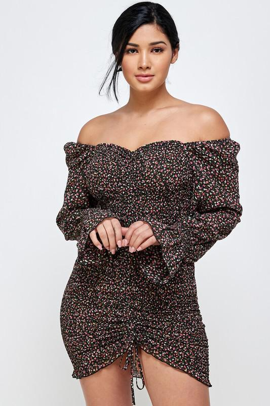 Floral Smocked Off The Shoulder Bodycon Dress