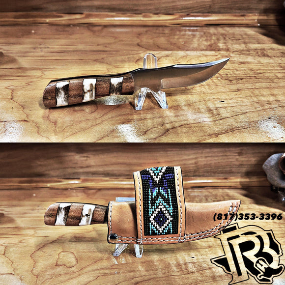 CIRCLE SH KNIFE WITH BEADED SHEATH KNC-68LOWK