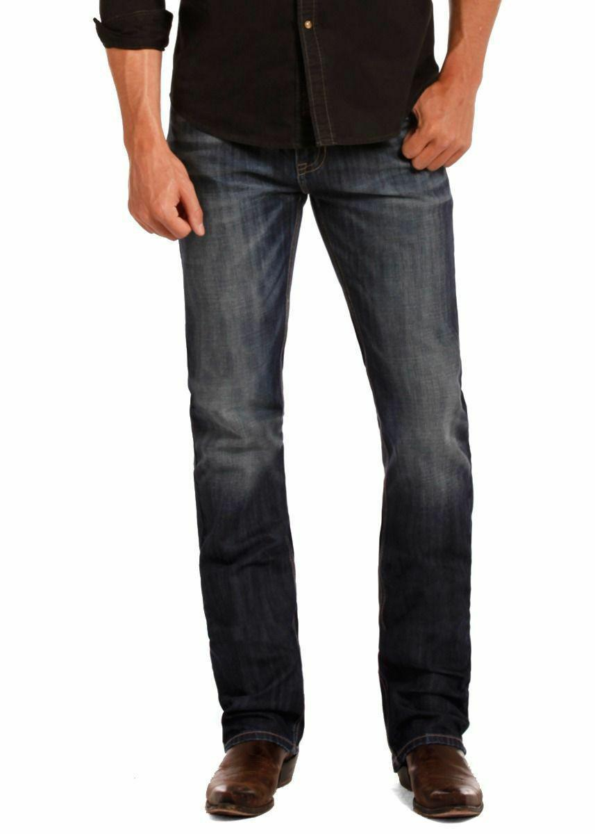 Rock & Roll Cowboy Men's Revolver Slim Straight Leg Medium Wash Jeans M1R4440