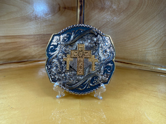 Triple Cross Engraved 2 Tone Buckle by Taylor Brand TBB4000TC