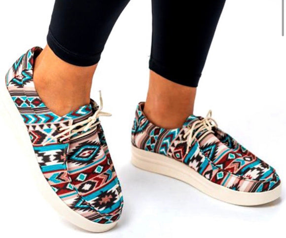 BLUE AZTEC PRINT SHOES