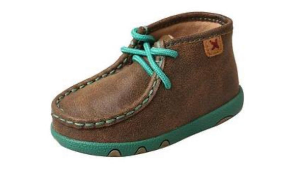TWISTED X: Infant Chukka Driving Moc  Bomber/Turquoise ICA0008