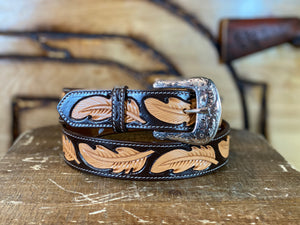 TWISTED X BELT TOOLED LEATHER FEATHER  X-1032