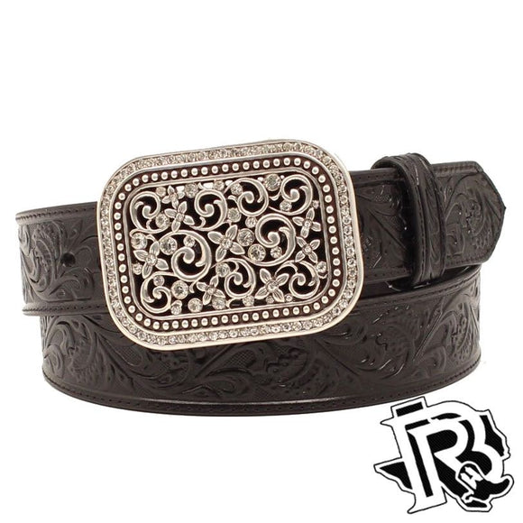 Ariat Leather LADIES Belt Black Embossed Ornate Silver Buckle A10006901