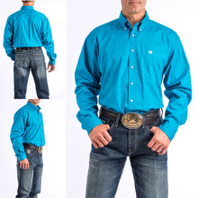 Load image into Gallery viewer, Cinch Men's Solid Turquoise Button-Down Western Shirt MTW1103800-TEAL