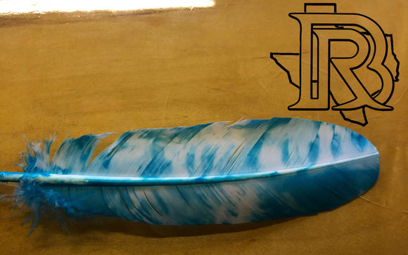 Feather for Cowboy hats : Blue and white