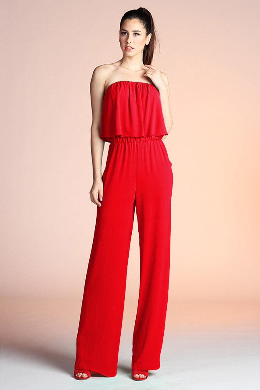 Strapless Jumpsuit : True Red