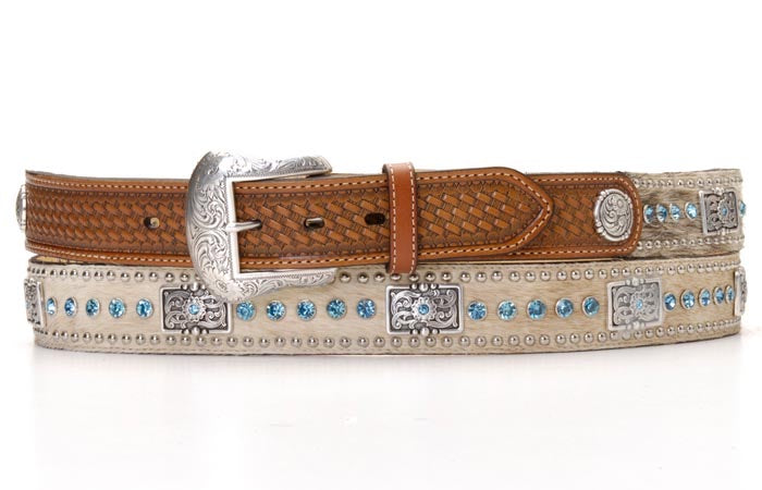 Nocona Mens Belt Natural Color Blue Rhinestones N2442148