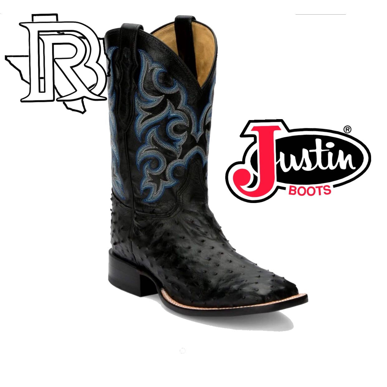 Justin EXCLUSIVE To BR Black Full Quill Ostrish 8514