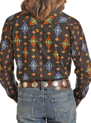 Aztec Poplin Print Long Sleeve Snap Shirt B2S4079 ROCK & ROLL DENIM