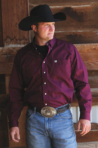 CINCH MENS LONG SLEEVE SOLID - BURGUNDY MTW1104239