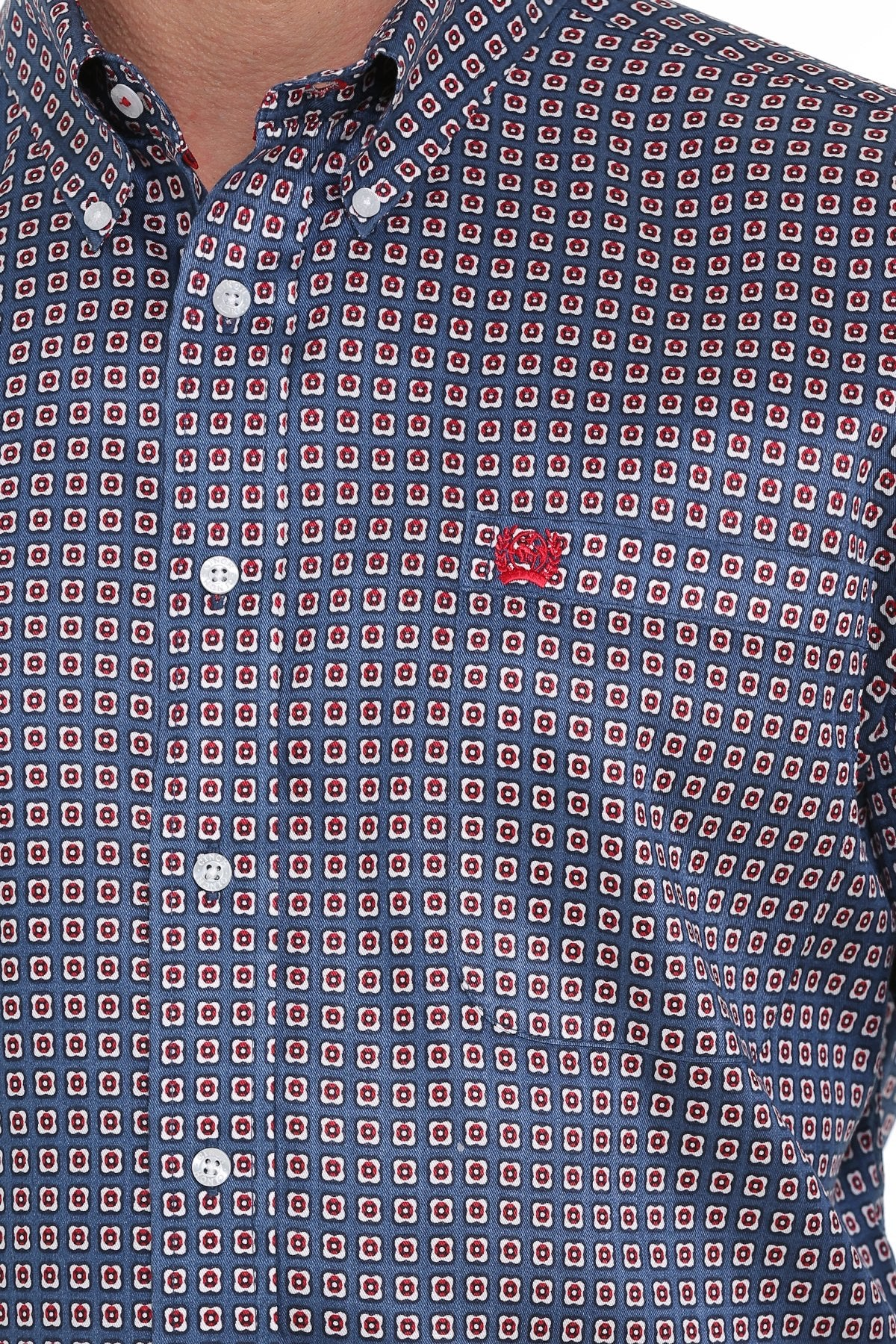CINCH MENS BLUE, RED AND WHITE GEOMETRIC PRINT BUTTON-DOWN WESTERN SHIRT MTW1104923