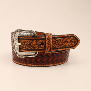 Nocona Mens Belt Antique Stained Embossed Tabs N210000502