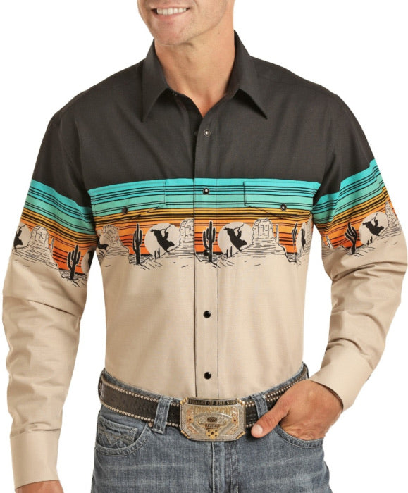 Men's Relaxed Fit Scenic Border Long Sleeve Snap Shirt | Panhandle Style 30S4849