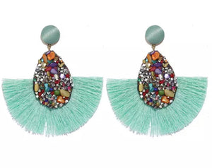Torquoise fringe earrings