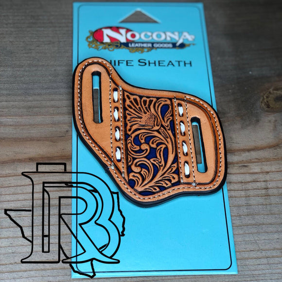 Nocona Leather Knife Sheath -Natural Color and Blue