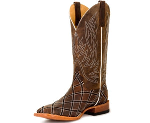 Horse Power Men's Distressed Brown with Moka Zigzag Patchwork Square Toe Western Boots